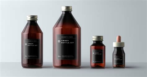 Amber Bottles Cosmetic Packaging | Psd Mock Up Templates
